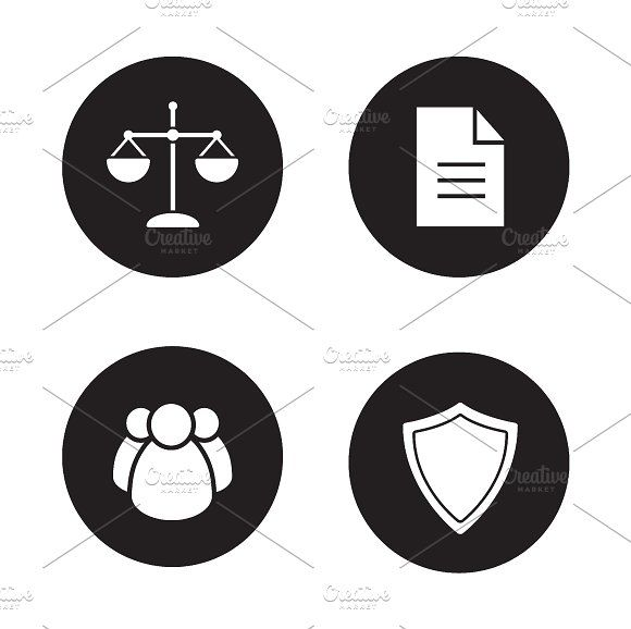 Jurisprudence And Law Icons. Vector By Icons Factory On @creativemarket
