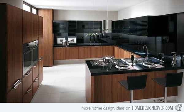 15 Bold And Black Kitchen Designs Home Design Lover Brown Kitchen Designs Modern Wooden Kitchen Scavolini Kitchens