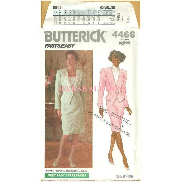 Butterick 4468 Sewing Pattern Misses Unlined Jacket and Skirt Size 6 ...