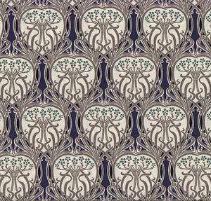 Navy Liberty style Tana Lawn Cotton Art Nouveau fabric, 145cm wide, Dressmaking | eBay