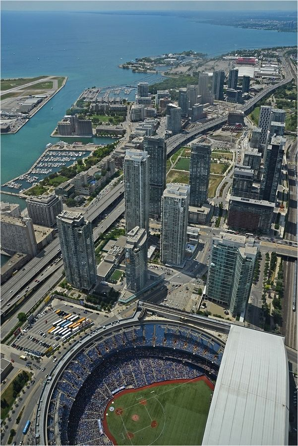 View Of Blue Jays Baseball Game At Skydome From Cn Tower Toronto