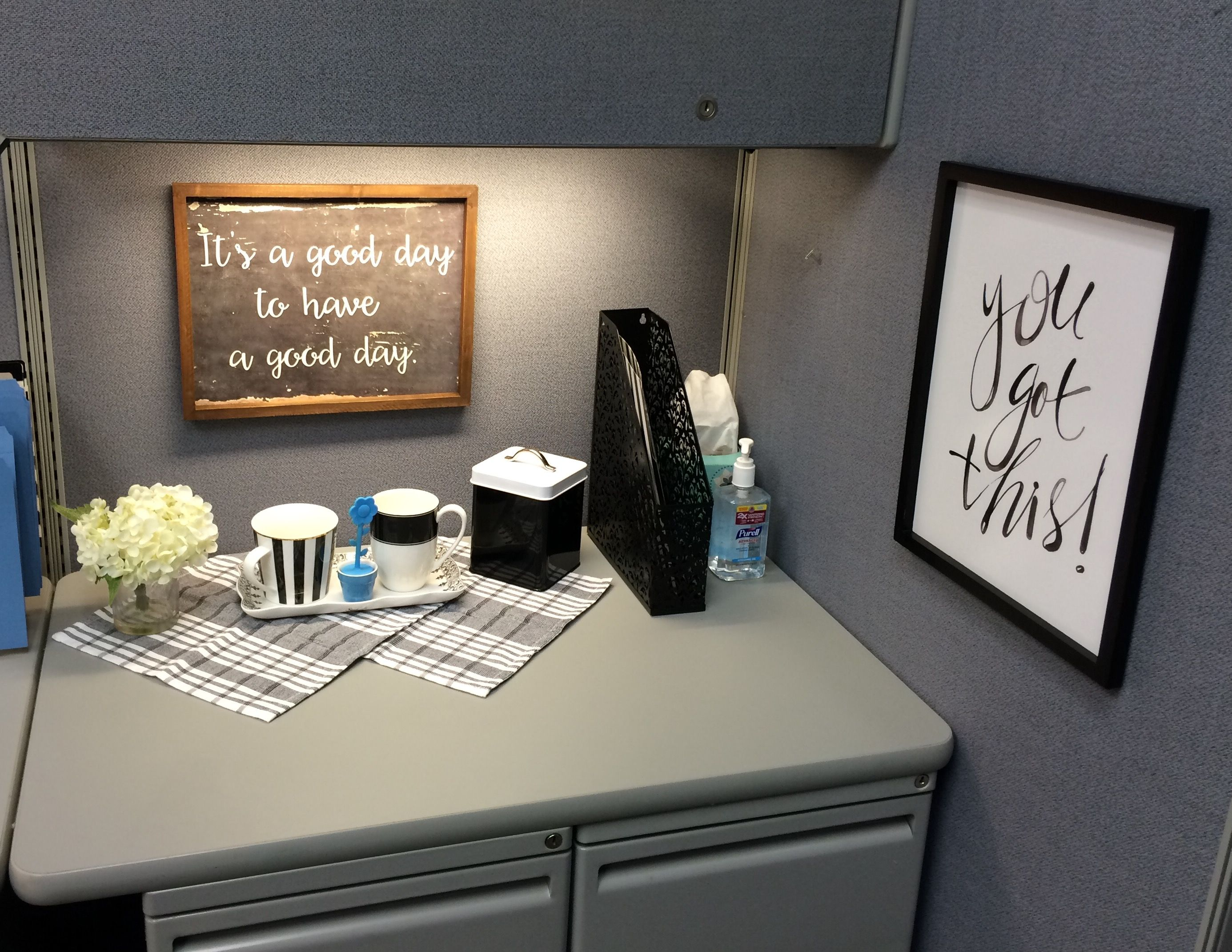Chose To Go With Black And White With Accents Of Blue And Metalics Cubicle Decor Office Office Cube Work Cubicle Decor