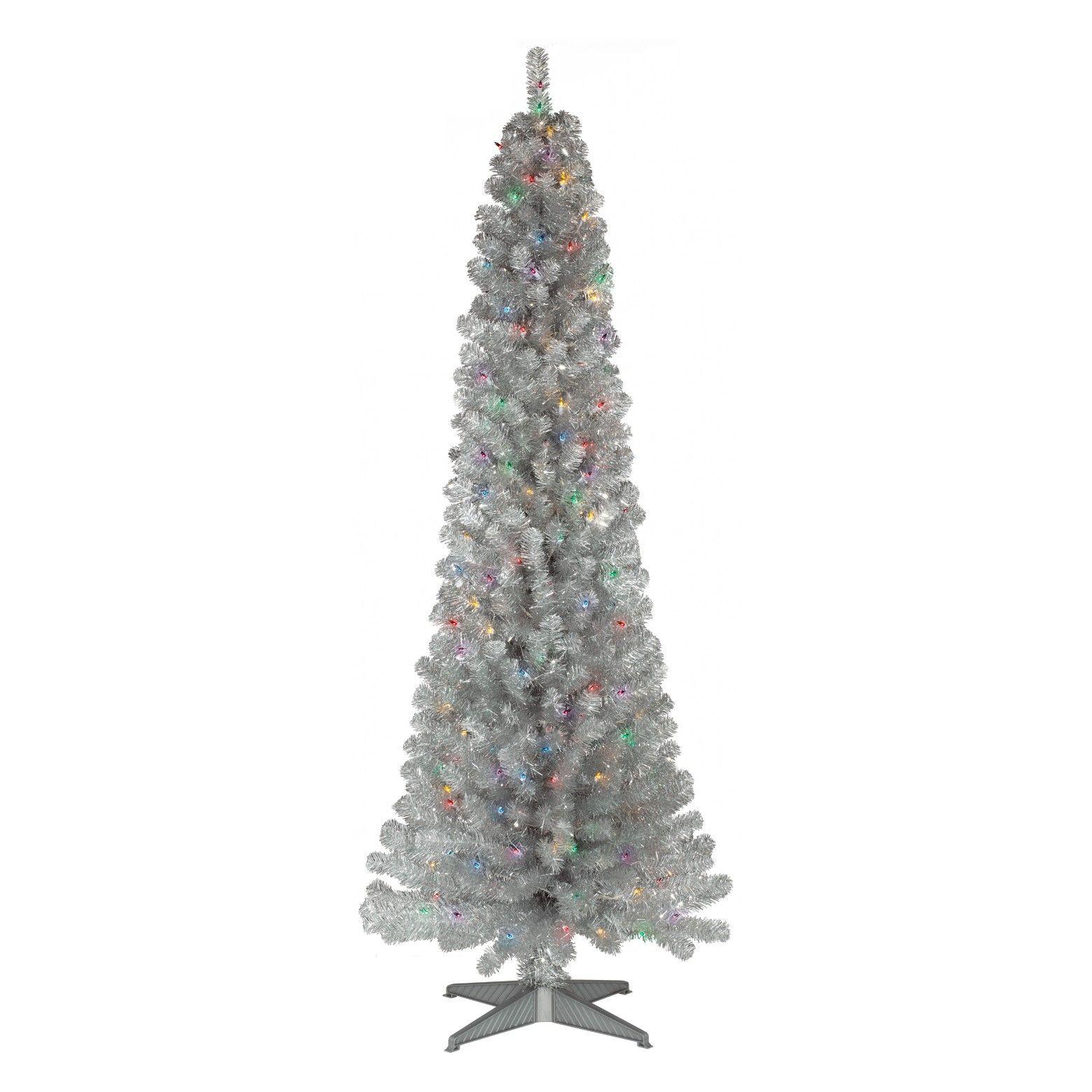 6ft Prelit Artificial Christmas Tree Silver Slim Alberta