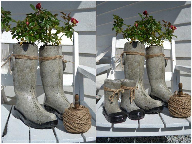 kreative pflanzgefäße aus beton und gummistiefeln | garden garten, Garten ideen