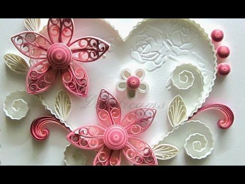 New : Art & Craft How to make Beautiful Quilling Pink Flower design -Paper Art Quilling - YouTube