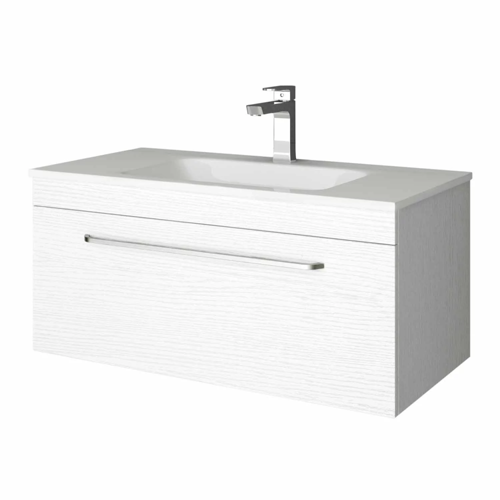 Wall Hung Vanity W: 900, H: 418mm, D: 465mm White Wood ...
