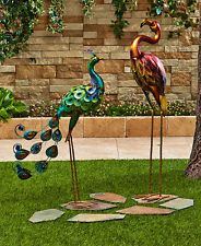 Colorful Metallic Metal Bird Statue Garden Yard Lawn Outdoor Home Decor Ornament