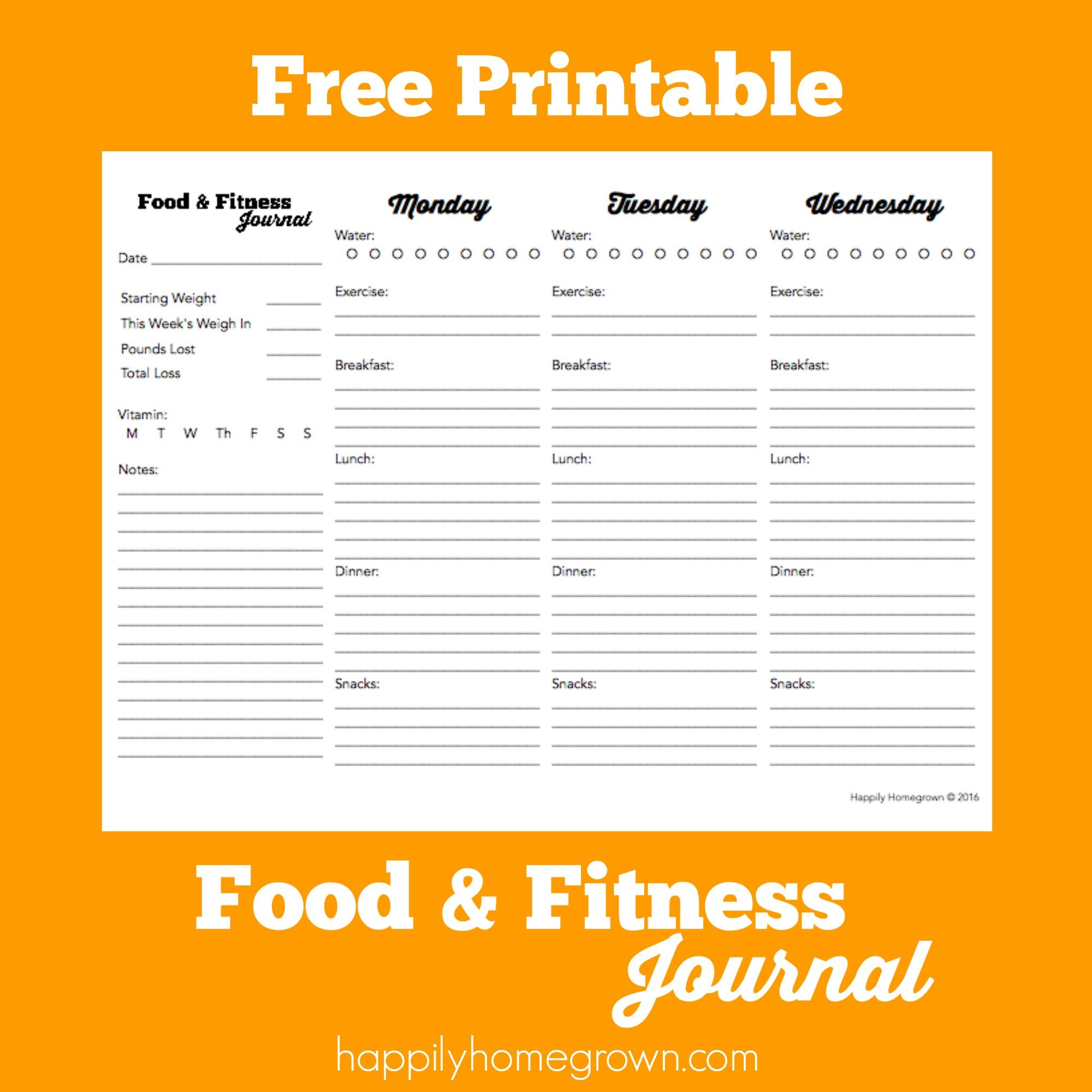 Fan image with printable workout journals