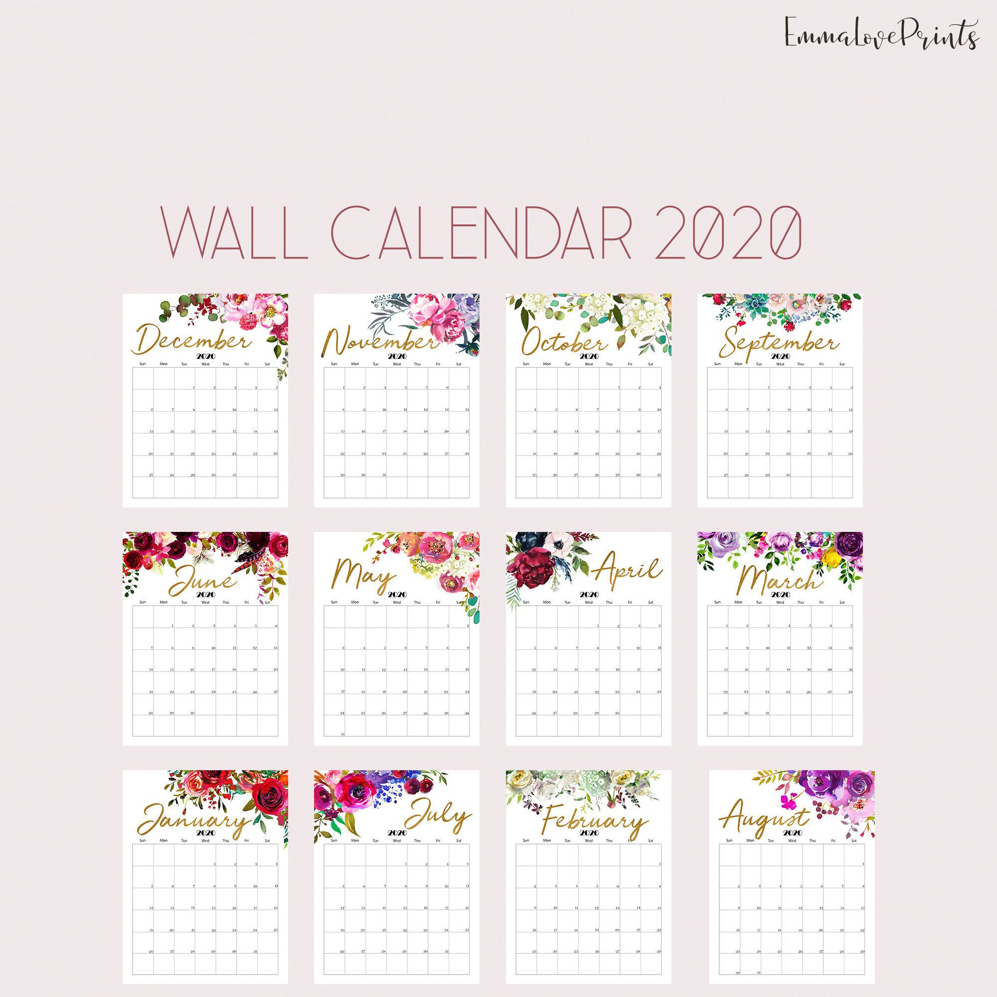 2019 2020 Floral Desk Calendar: Floral Wall Calendar, Botanical Calendar 2020, Watercolour