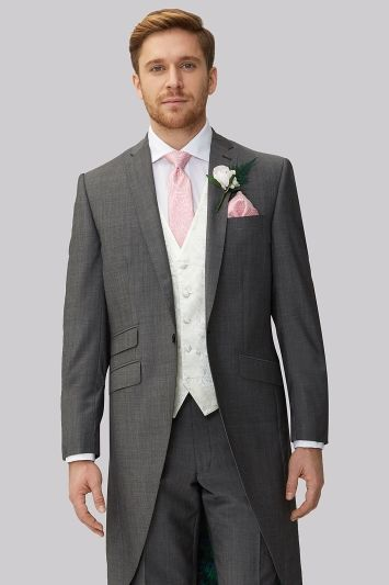 GREY TAILCOAT SUIT 3 PIECE WEDDING FORMAL TAILS MORNING