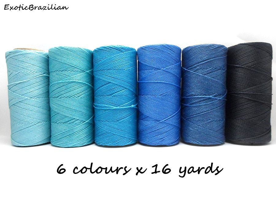Linhasita, set of 6 colours x 16 yards, waxed polyester cord, blue