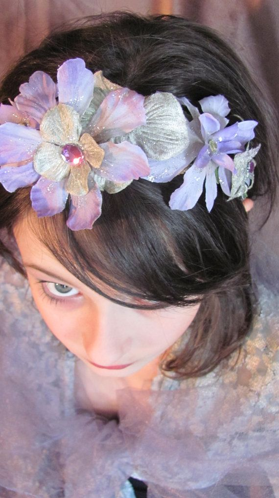 Silver And Violet Flower Fairy Headband Le By Faeriewickets