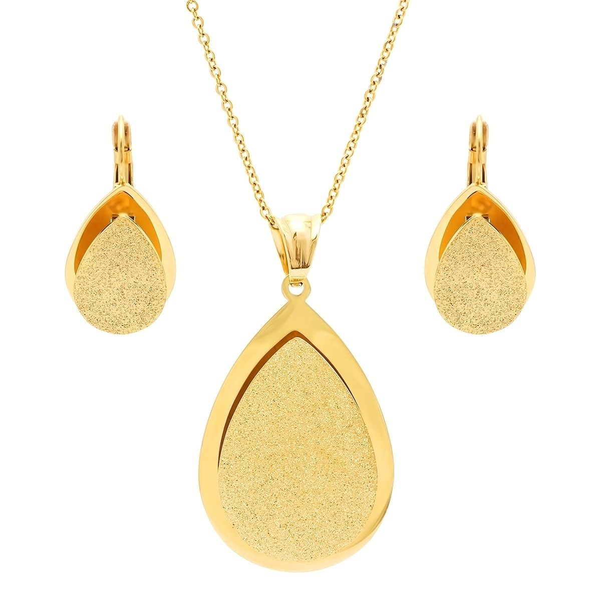 Piatella ladies gold tone glitter teardrop earring and pendant set