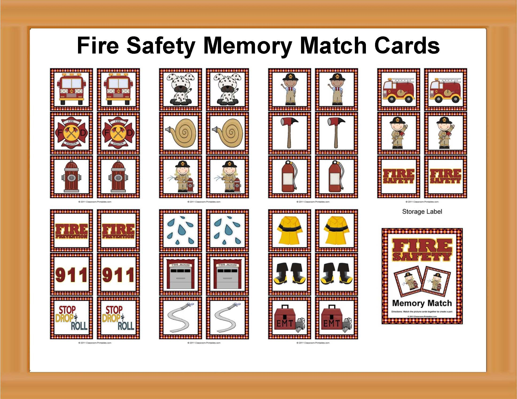 Fire Safety Memory Match Cards Thema brandweer kleuters