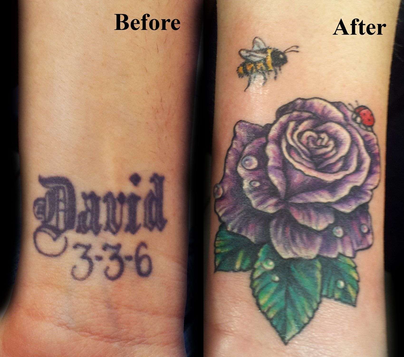 Cover Up Tattoo Purpler Rose