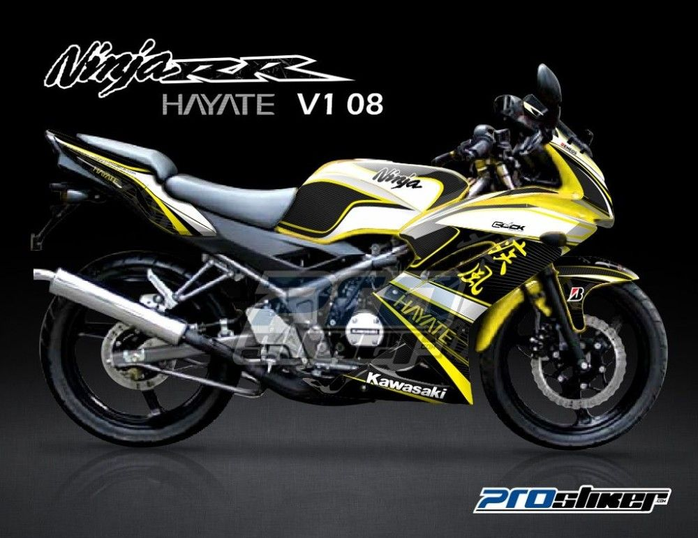 stiker modifikasi kawasaki ninja 150 rr kuning motif hayate v1 08 rh pinterest com kawasaki ninja 150 rr manual Kawasaki Ninja 600