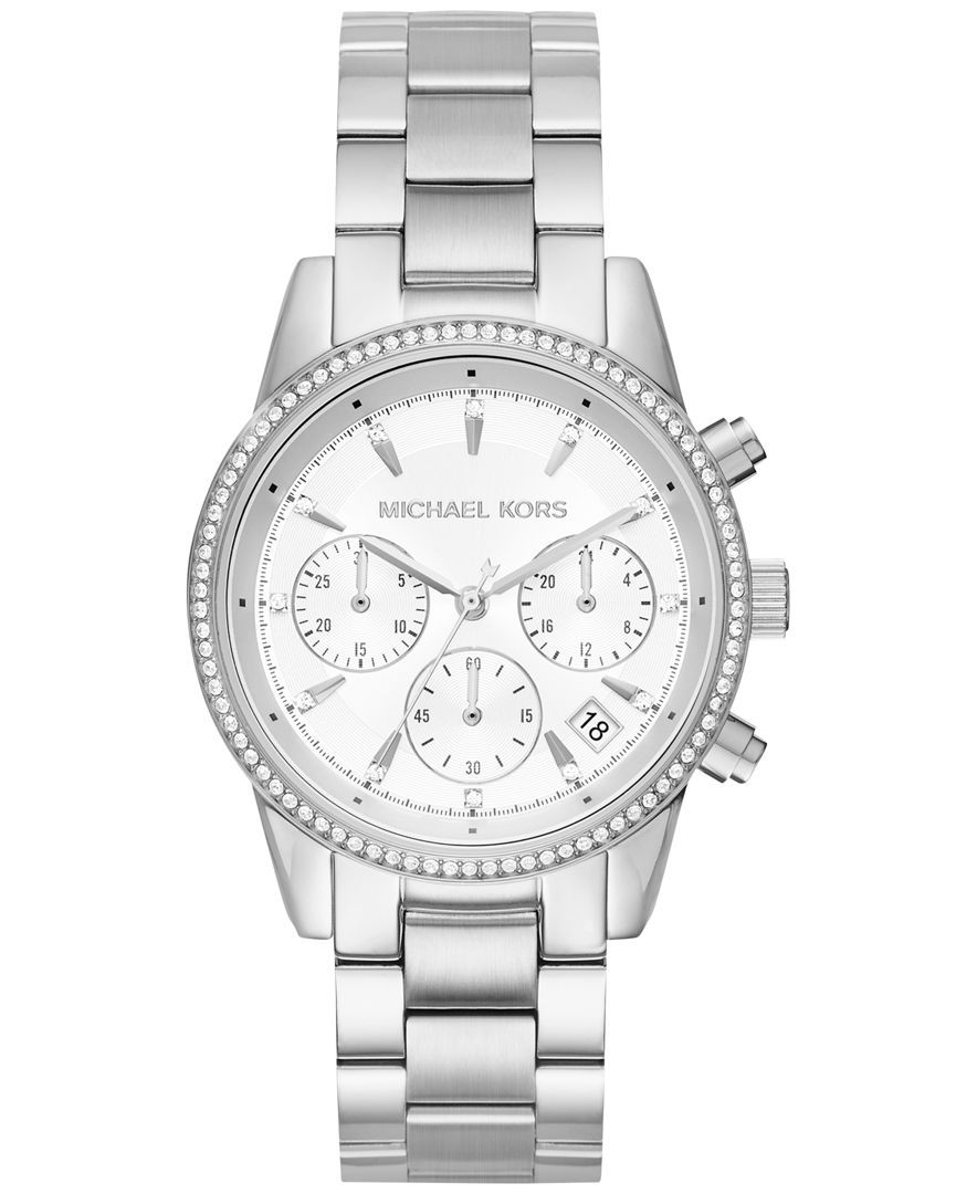 f9c53241455c Michael Kors Women s Chronograph Ritz Stainless Steel Bracelet Watch 37mm  MK6428 MK6357 MK6356