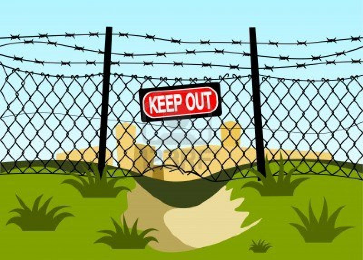 Download Wire fence with barbed wires. Hole under the fence | Wire ...