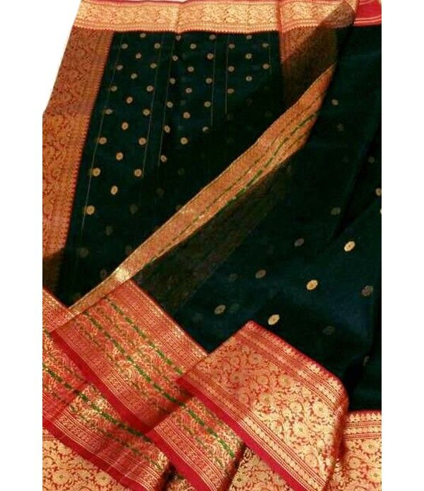 dba40ce1990d32 Black Handloom Pure Katan Silk Chanderi Saree | chanderi sarees ...