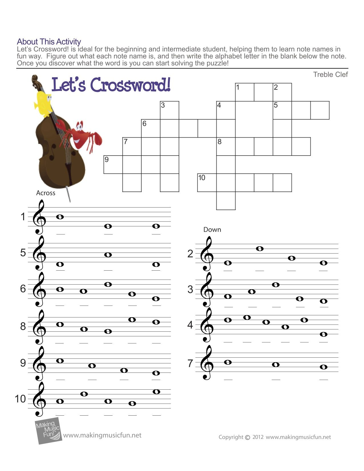 worksheet Note Name Worksheets treble clef fun note reading easy music theory for middle school reading