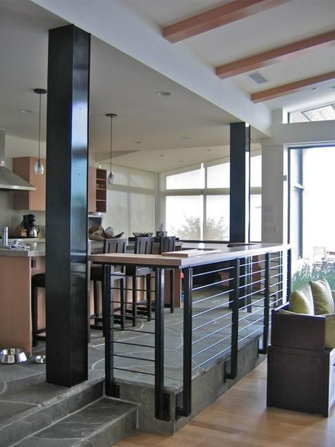 35 Modern Interior Design Ideas Incorporating Columns Into Spacious Room Design Sunken Living Room Interior Columns Family Room Design #pillar #in #living #room