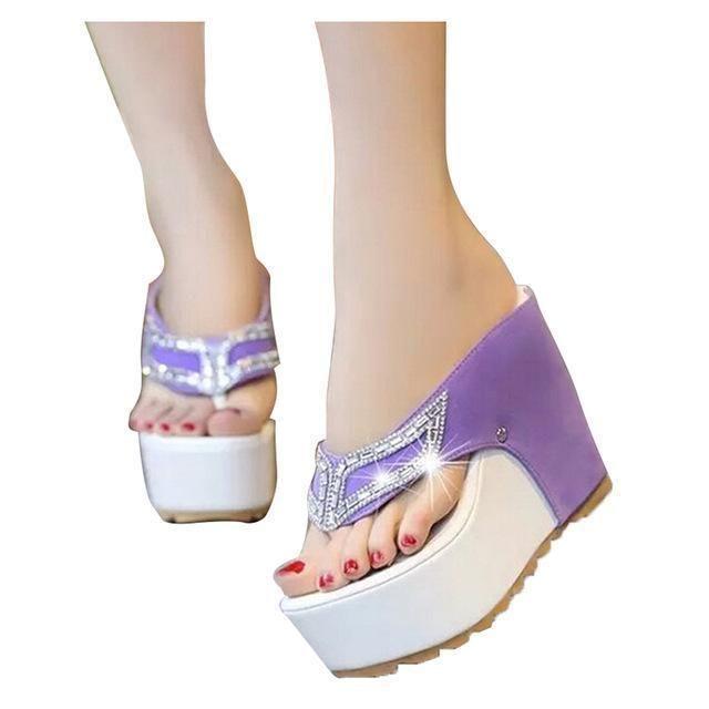 539a4cf76190e4 HEE GRAND Brand Women Shoes Thick Bottom Platform Flip Flops Rhinestone  Wedge Heel Patchwork Woman Summer
