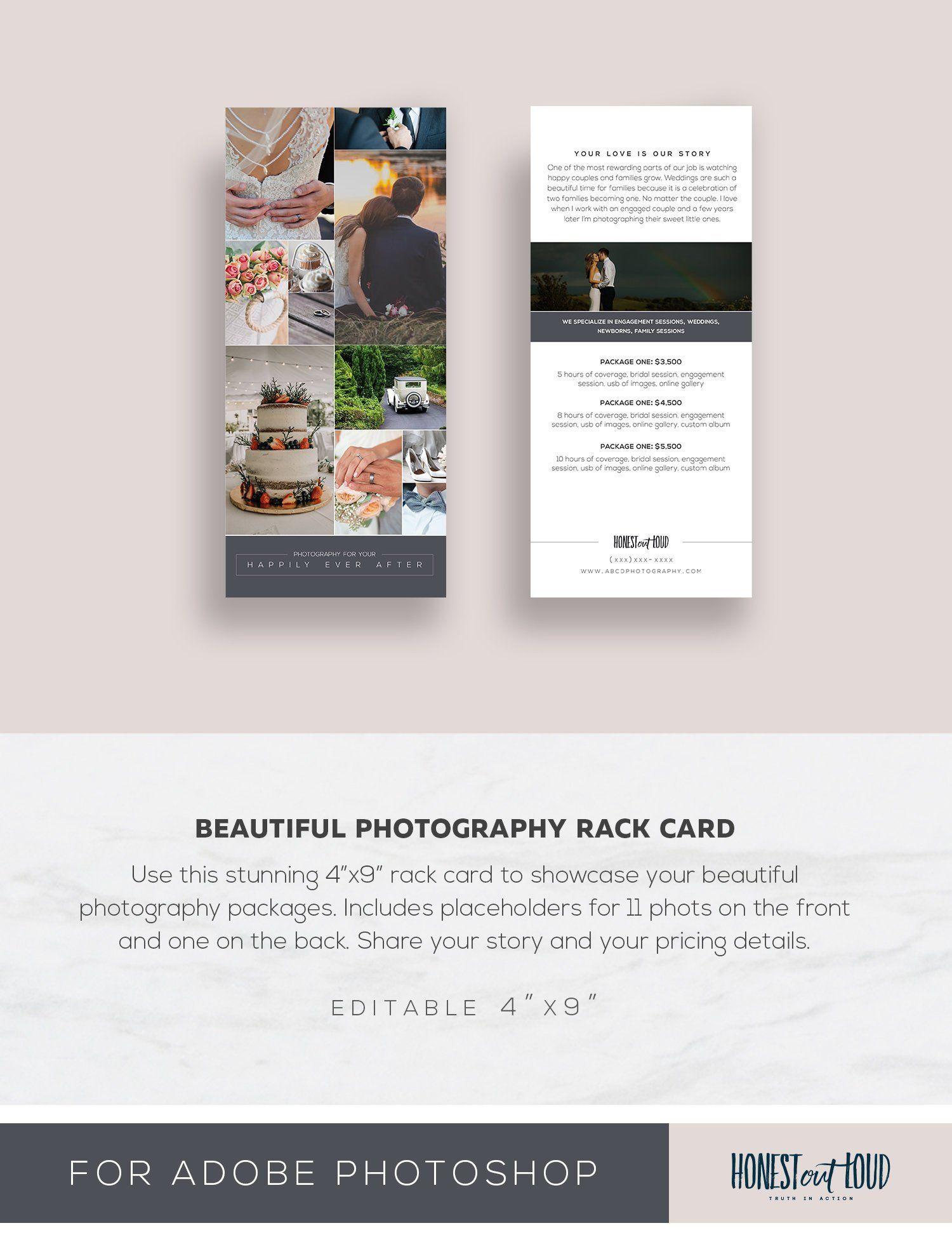 Wedding Photography Rack Card Template 4x9 Photoshop