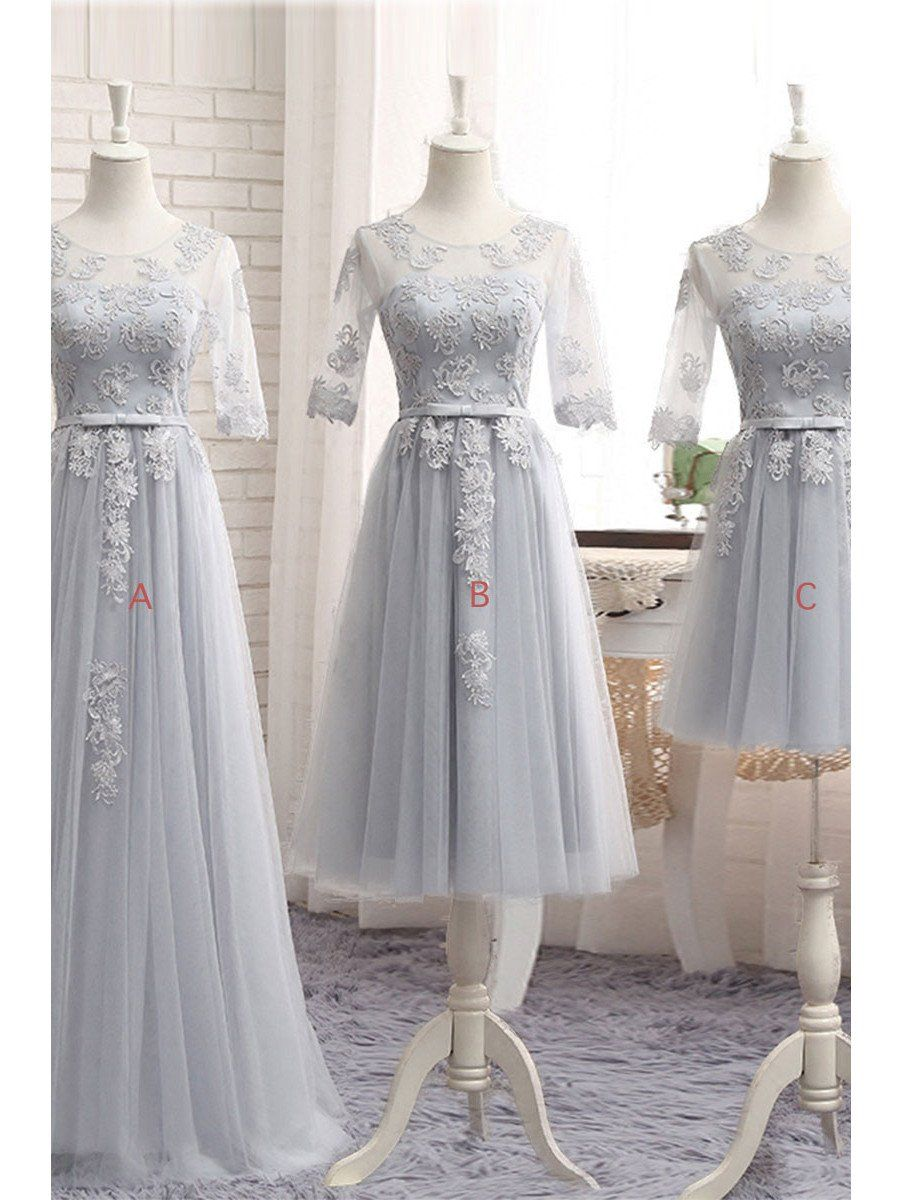 Half sleeves bridesmaid dresses tulle appliques silver bridesmaid