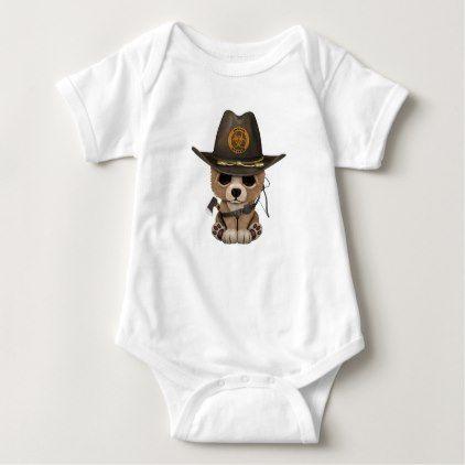 #cute #baby #bodysuits - #Baby Bear Cub Zombie Hunter Baby Bodysuit