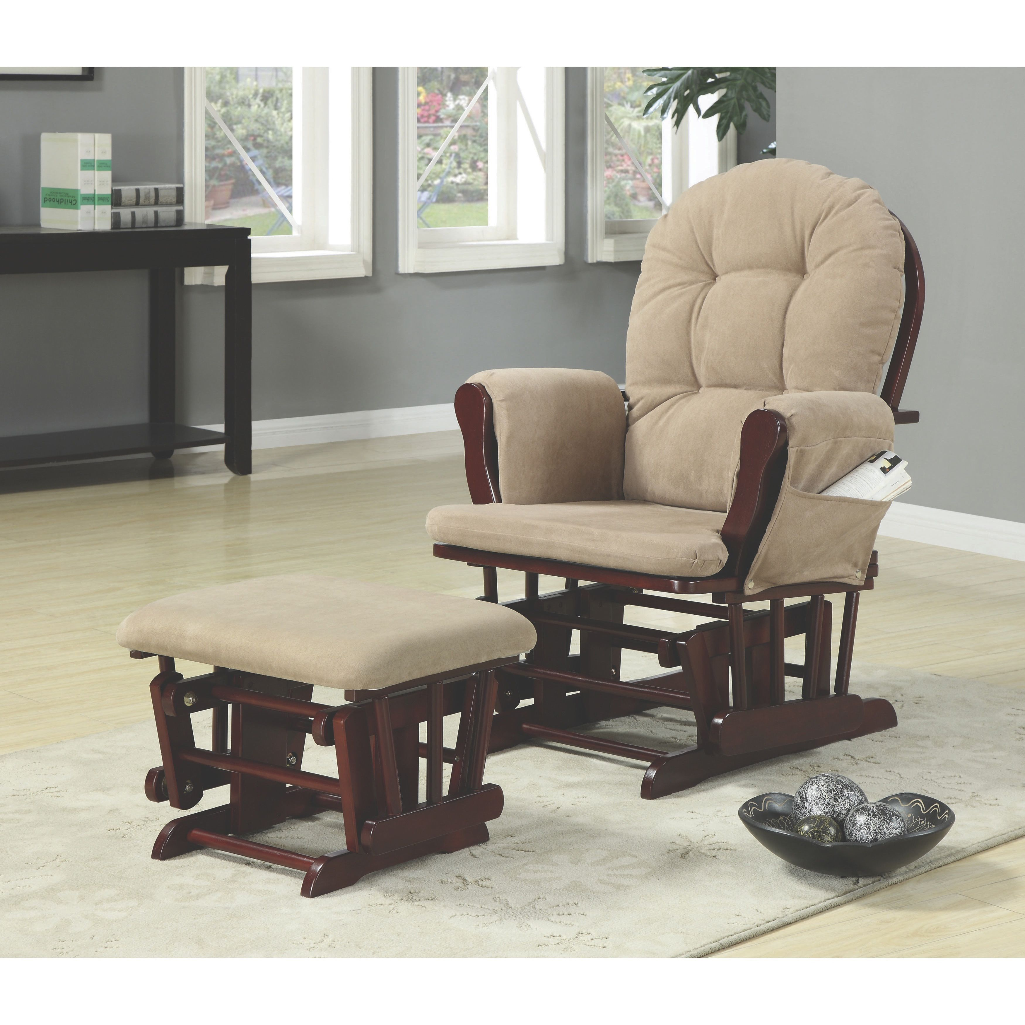 Pleasant Coaster Company Brown Microfiber Glider Recliner Chair With Ibusinesslaw Wood Chair Design Ideas Ibusinesslaworg