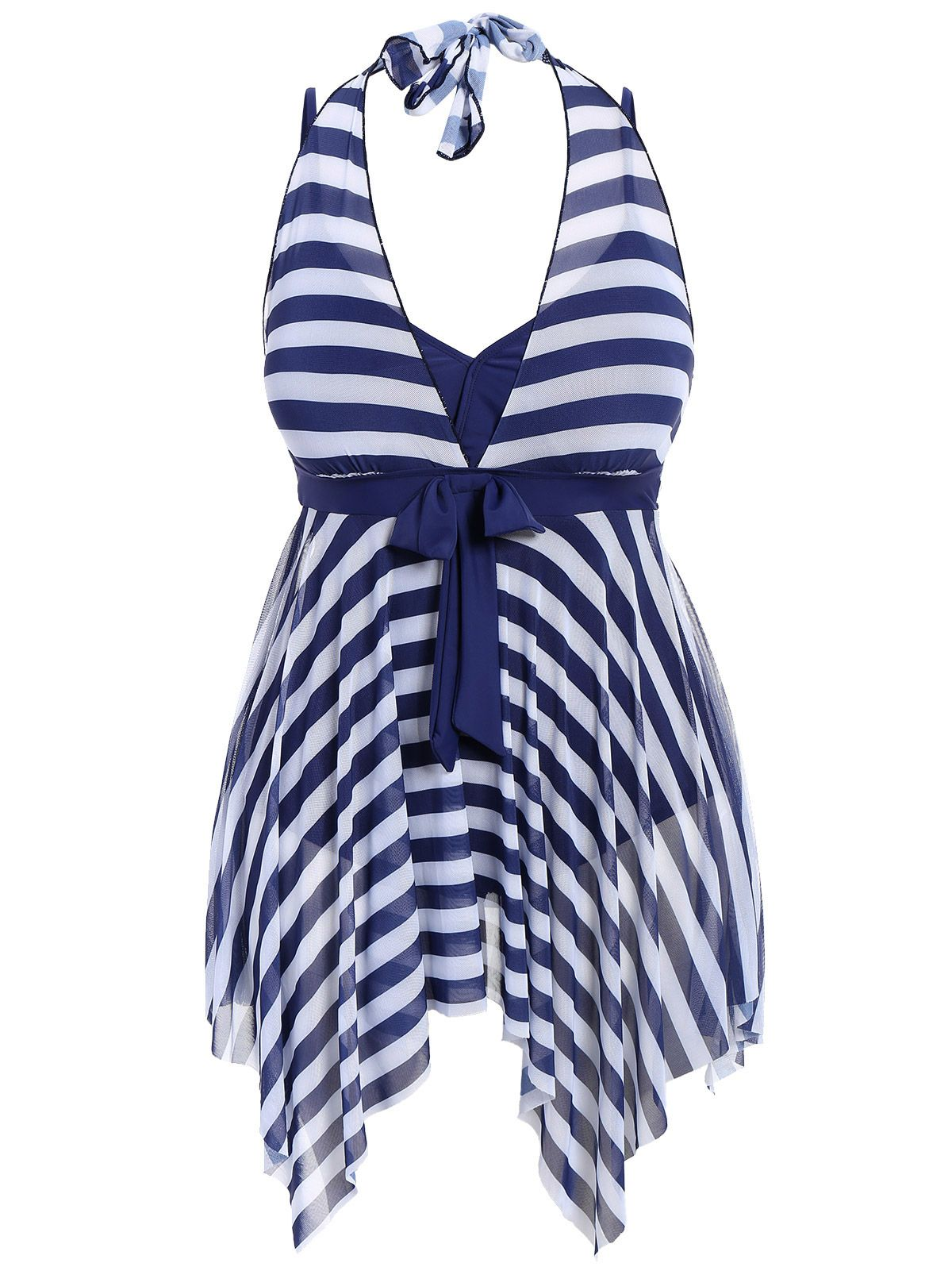 3e32adc4641cc Plus Size One Piece Stripe Swimwear