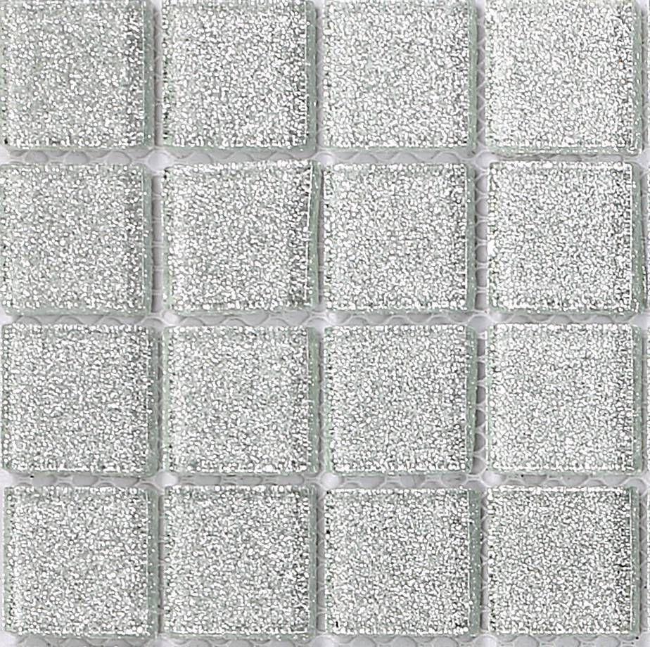 Silver Glitter Glass Mosaic Tiles Feature Wall Splashback Borders ...