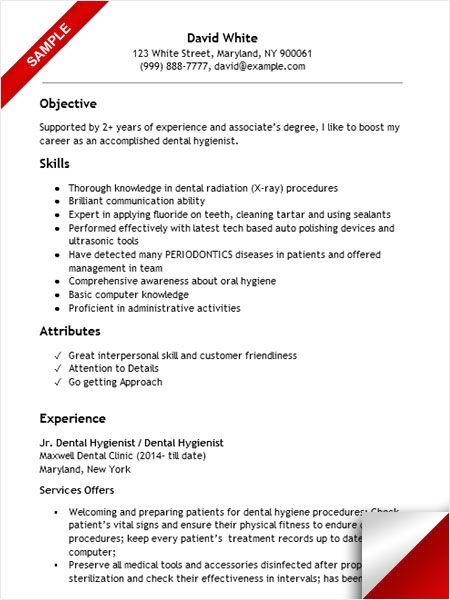 Dental Hygienist Resume Sample Resume Examples Pinterest