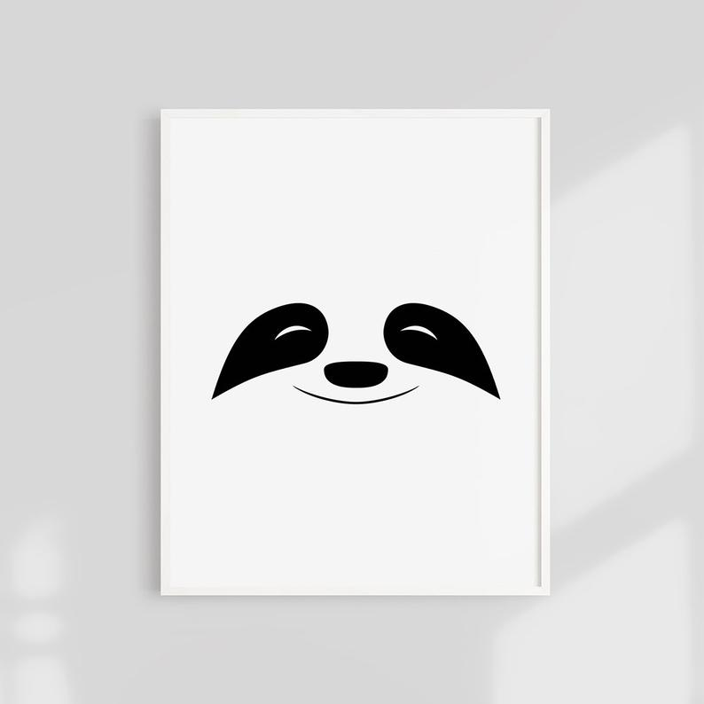 Sloth Print, Baby Sloth Print, Sloth Face Poster, Kids Room Printable, Cute Sloth, Modern Scandinavian Decor, Nursery Wall Art, B&W Print #babysloth