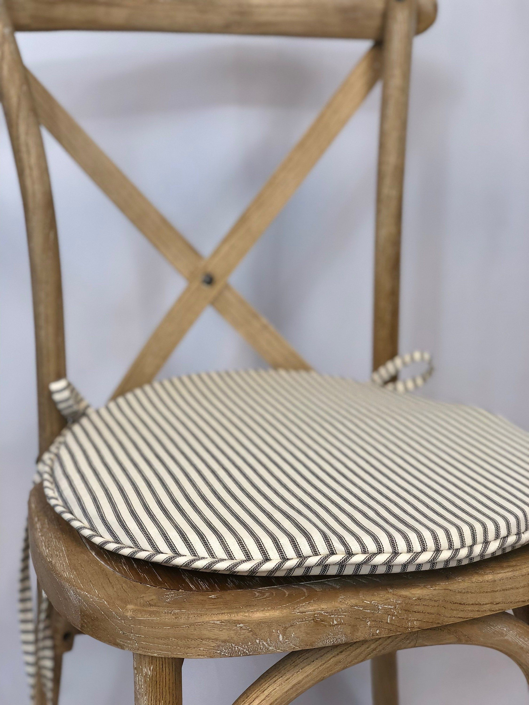 Round Bistro Cushion In French Ticking Stripe Rustic Tie Back Chair Cushion Shabby Chic Cushion Solid Canvas Available For Chair Pad In 2020 Shabby Chic Cushions Chair Cushions Kitchen Chair Pads