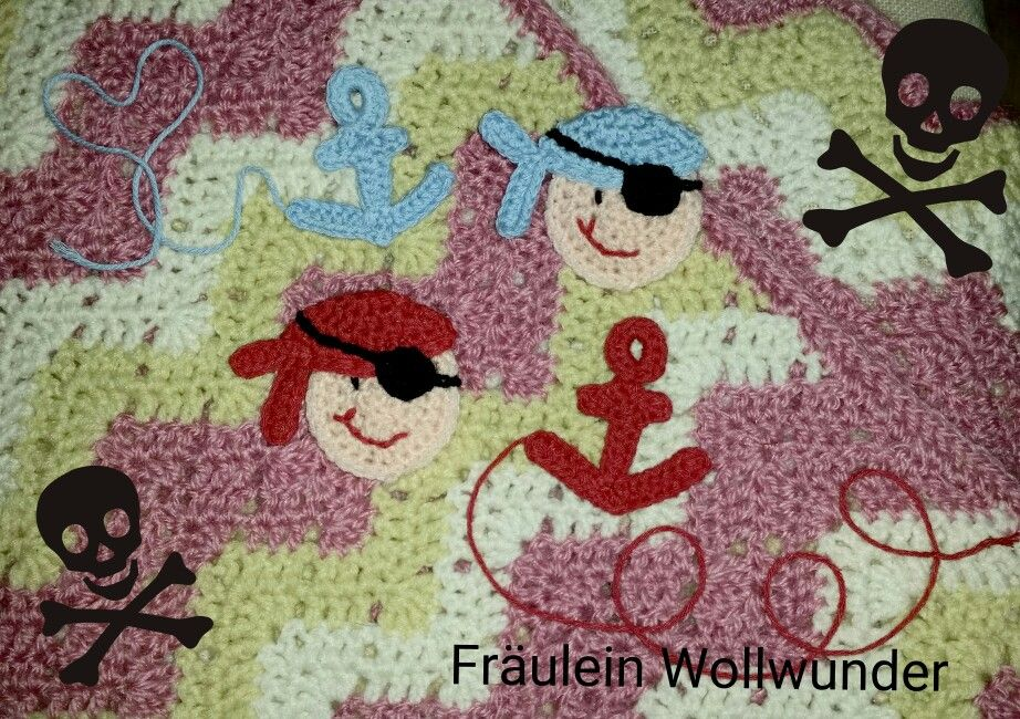 Applikationen * Pirat * gehäkelt * crochet  https://www.facebook.com/fraeuleinwollwunder