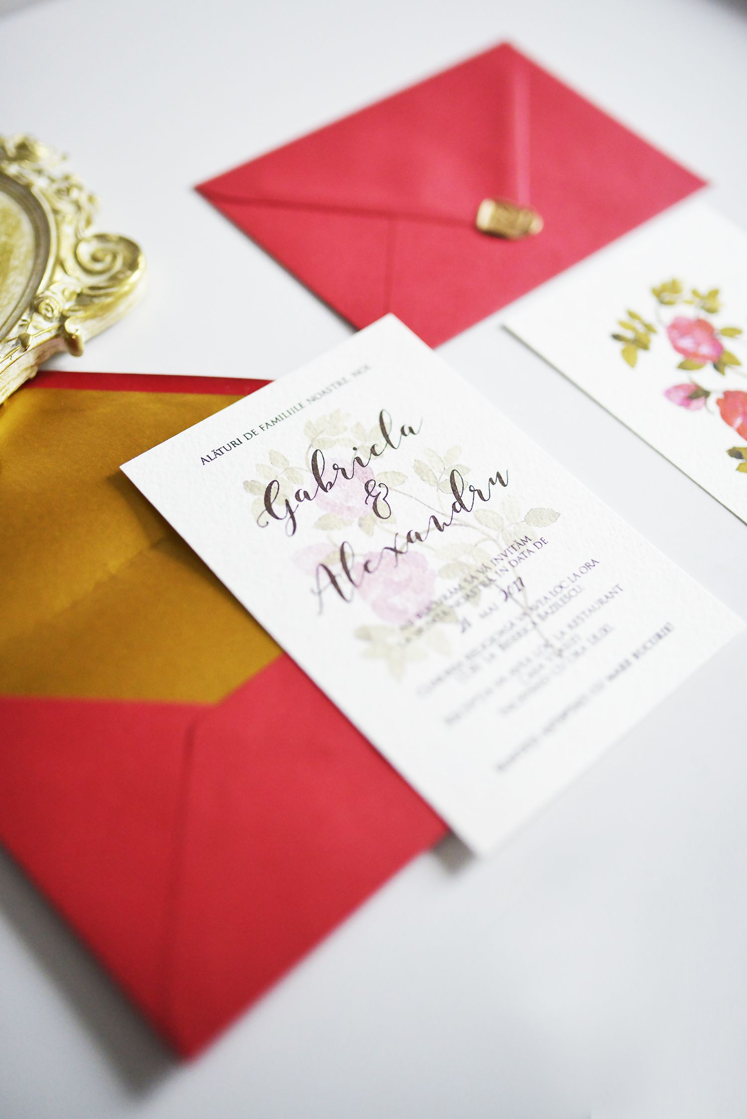 Floral wedding stationery, watercolor wedding invitation, botanical ...