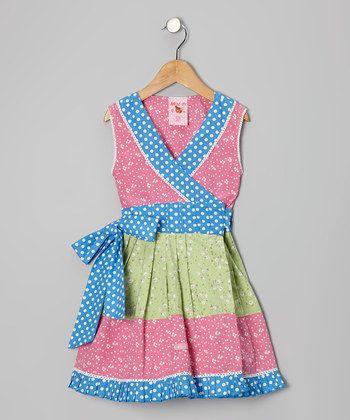 toddler wrap dress | Blue & Green Floral Wrap Dress - Toddler & Girls