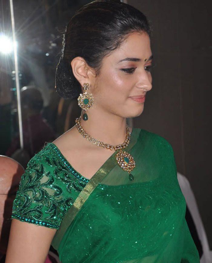 Tamanna Hot Photos In Green Saree