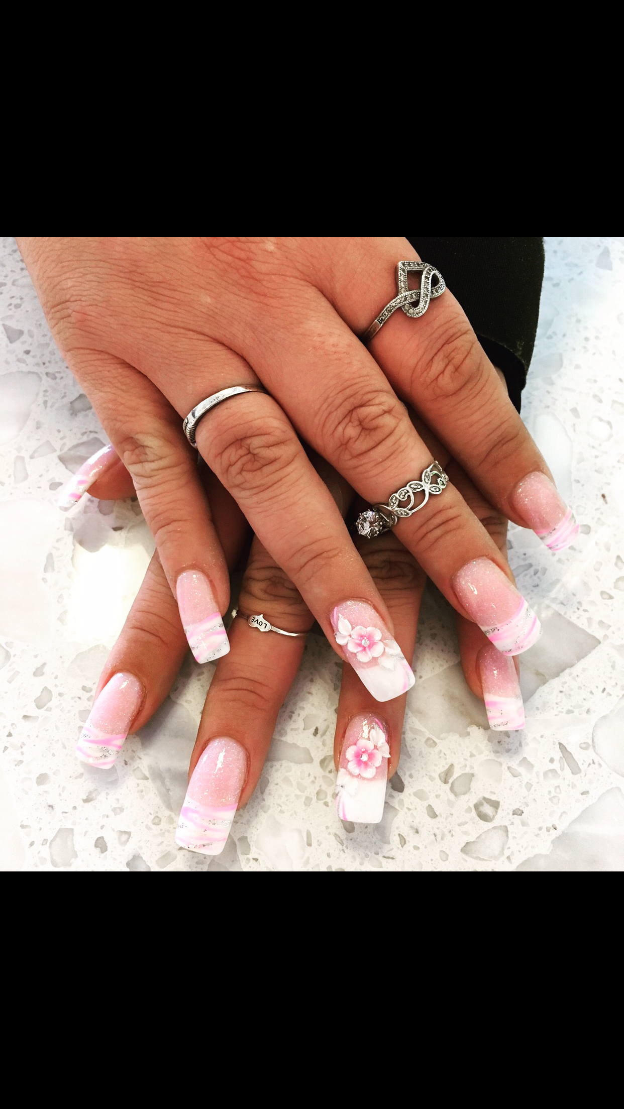 Pink and White Glitter 3D Flower ANC Nail Design Nail Art French Tip - Pink And White Glitter 3D Flower ANC Nail Design Nail Art French Tip