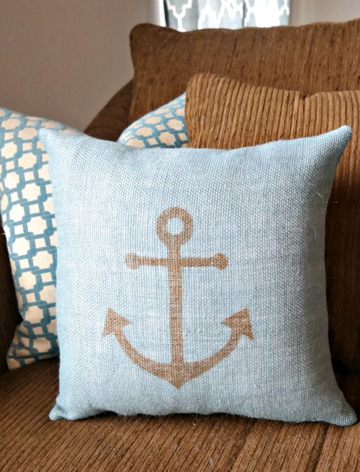 Burlap Sharpie Pillows- Metallic Gold Anchor on Blue Slate Burlap.