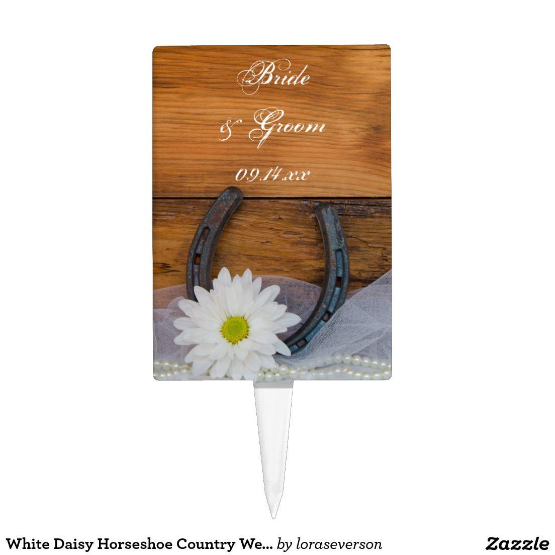 White Daisy Horseshoe Country Wedding Cake Topper