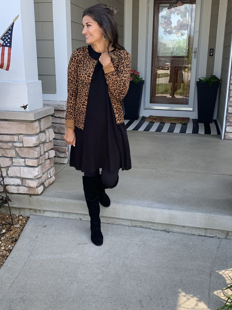 Perfect Look For A Teacher This Fall In A Black Dress And Leopard Cardigan Justpostedblog Shopstyle Shopthelo Fall Fashion Outfits Black Swing Dress Fashion [ 1080 x 810 Pixel ]