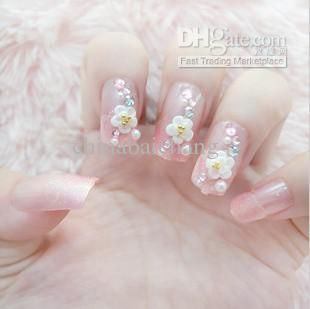 Flower with White Tips Nail Art