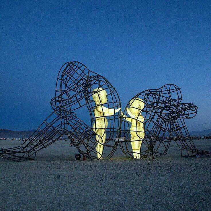 One Of The Most Powerful Art Pieces From Burning Man A Sculpture - Thought provoking burning man sculpture shows inner children trapped inside adult bodies