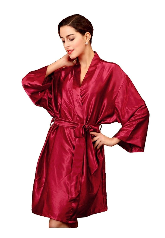 864c599f3ca9 Women s Silk Robe Satin Kimono Robes For Bridesmaids Short Sleepwear ...