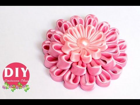 DIY.Kanzashi flower tutorial.Flowers from ribbon.