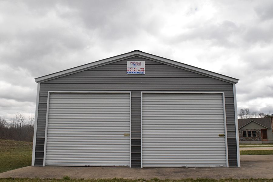2 Car Metal Garage in Midland, Michigan Midwest Steel