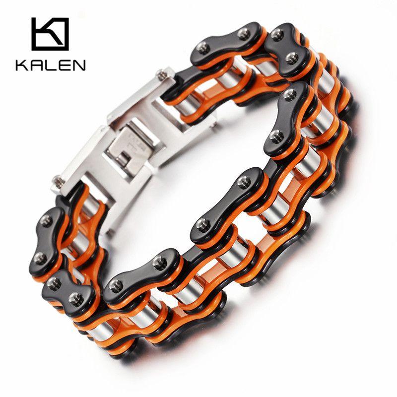 Kalen New Bike Link Chain Bracelets Men S 316l Stainless Steel