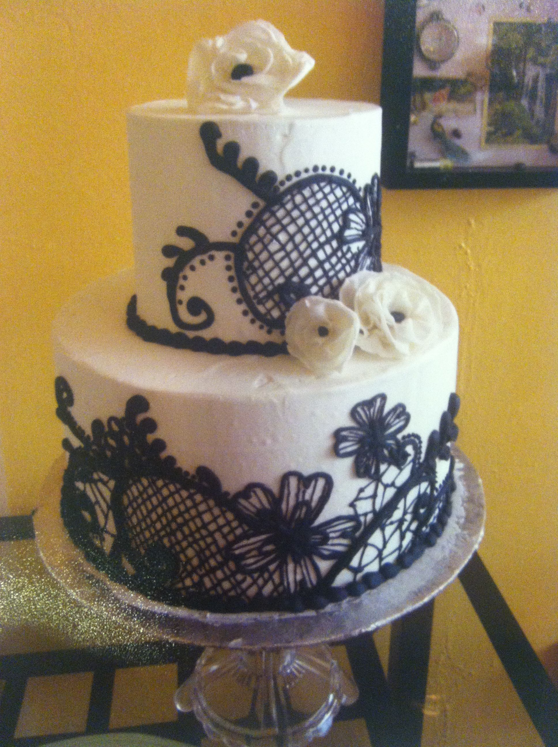 White buttercream cake with black lace and scroll piping with free white buttercream cake with black lace and scroll piping with free form white sugar flowers dhlflorist Image collections